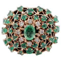 Emeralds, Diamonds, 14 Karat Rose Gold Ring