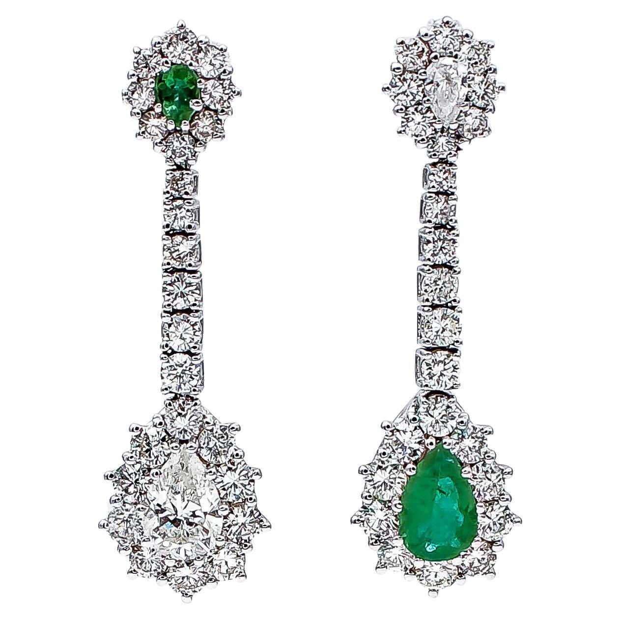 Emeralds, Diamonds, 18 Karat White Gold Dangle Earrings