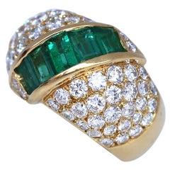 Emeralds Diamonds 18K Yellow Gold Cocktail Ring, 2000