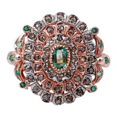 Emeralds, Diamonds, 9 Karat Rose Gold and Silver Retrò Ring