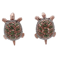 Emeralds, Diamonds 9 Karat Rose Gold and Silver Turtle Earrings