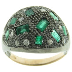 Emeralds Diamonds 9 Karat Rose Gold Sterling Silver Dome Ring Made in Italy