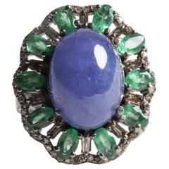 Emeralds, Diamonds and Tanzanite Dome Cocktail Ring