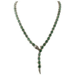Emeralds, Diamonds, Rubies, 9 Karat Yellow Gold and Silver Retro Snake Necklace