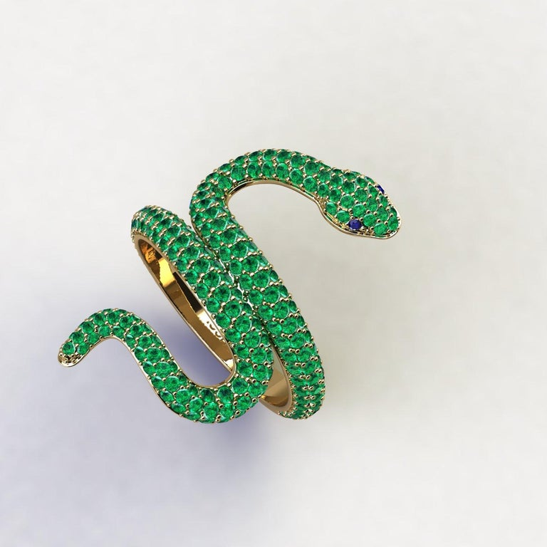Emeralds Pave' Snake 14k Yellow Gold Ring, bright green hand picked emeralds, for an approximate 1.35 carats, made in 14k Yellow gold to help the slim design, to have more robustness. Made to order in your finger size, due to the fitting in relation