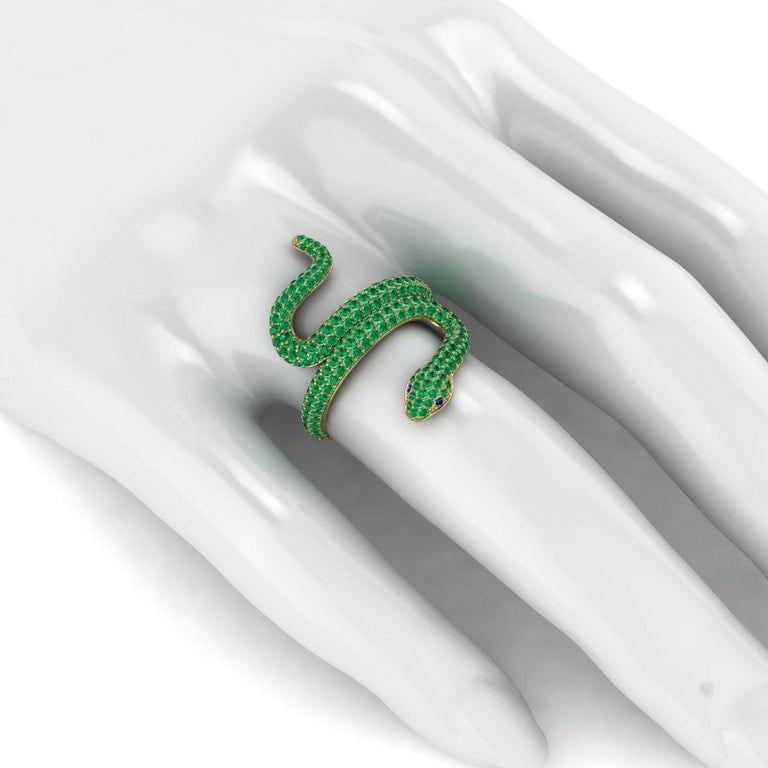 Round Cut 1.35ct Emeralds Pave' Snake 14k Yellow Gold Ring For Sale