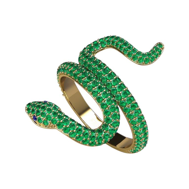 1.35ct Emeralds Pave' Snake 14k Yellow Gold Ring For Sale
