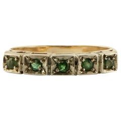 Emeralds Rose Gold and Silver Band Ring