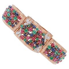 Emeralds, Rubies, Sapphires, Diamonds, 14 Karat White and Rose Gold Bracelet