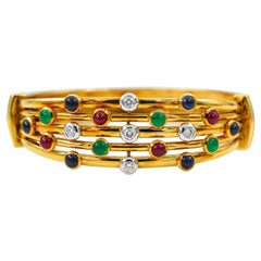 Emeralds Rubies Sapphires Diamonds Bracelet 4 Carat 18 Karat Gold