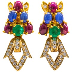 Emeralds Rubies Sapphires Diamonds Earrings 8.60 Carat Total 18 Karat Gold