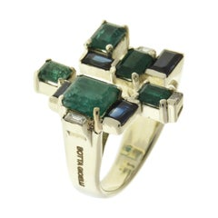 Emeralds Sapphires Diamonds 9 Karat White Gold Modern Ring Handcrafted in Italy