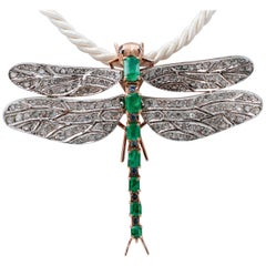 Emeralds, Sapphires, Diamonds 9Kt Gold and Silver Shape Dragonfly Pendant/Brooch
