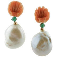Emeralds, Shell Shape Carved Coral, Baroque Pearls, Rose Gold Drop Earrings