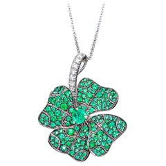 Emeralds White Diamonds Platinum Pendant Necklace