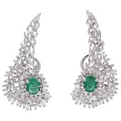 Emeralds, Diamonds, 18 Karat White Gold Earrings
