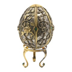 Modern Faberge Filigree Butterfly Vermeil Sterling Egg 750 Edition