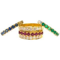 Emerald Ruby Sapphire Diamond High Karat Gold Interchangeable Ring Band Set