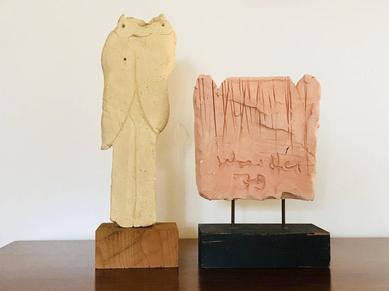 Modern Emerson Woelffer Abstract Expressionist Ceramic Sculptures, 1979 For Sale