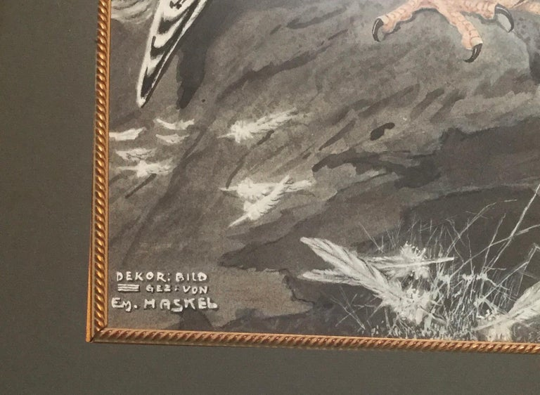 Hand-Painted E.M.Haskel Gouache on Paper Painting of Gyr Hawk Bird For Sale