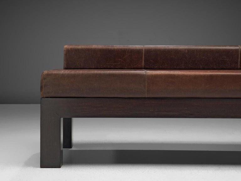 Mid-Century Modern Emiel Veranneman Custom Made Bench in Buffalo Leather For Sale