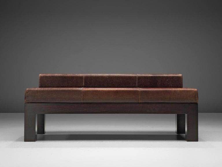 Belgian Emiel Veranneman Custom Made Bench in Buffalo Leather For Sale