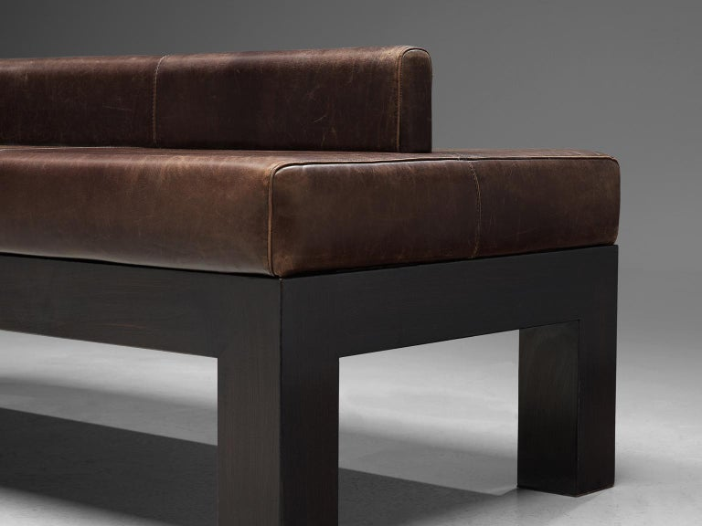Emiel Veranneman Custom Made Bench in Buffalo Leather In Good Condition For Sale In Waalwijk, NL