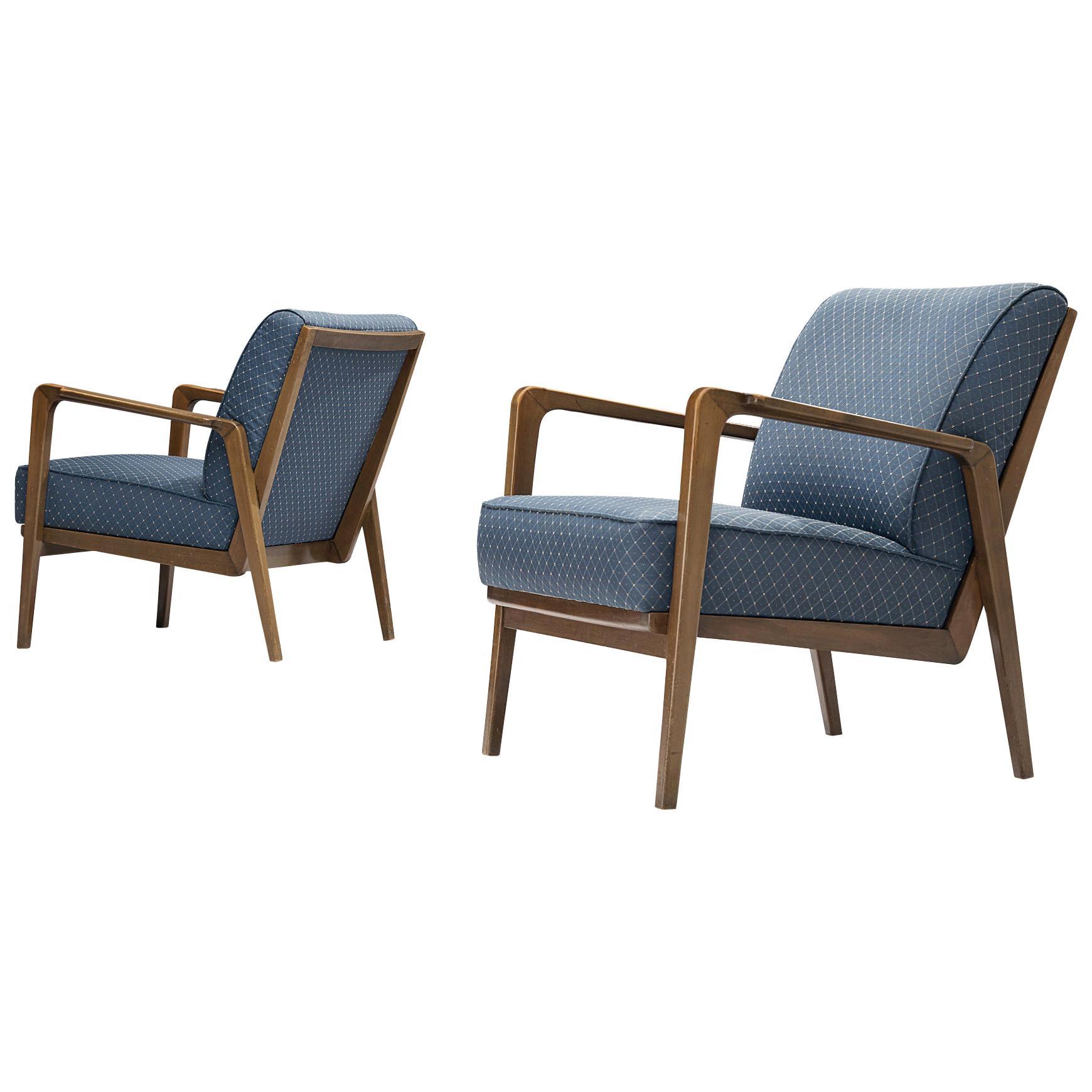 Emiel Veranneman Rare Lounge Chairs in Cherry and Blue Fabric