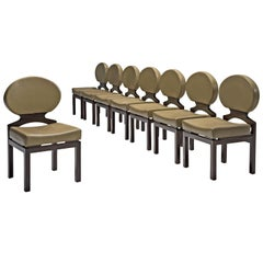 Emiel Veranneman Set of Eight Osaka Dining Chairs in Leather