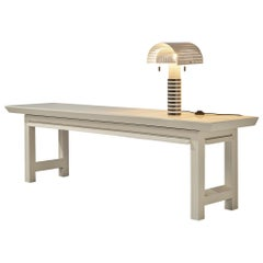 Emiel Veranneman White Console Table and Mario Botta 'Shogun' Table Lamp