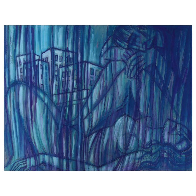 Emil Betzler 'Couple in Blue'' German Expressionist Painting For Sale