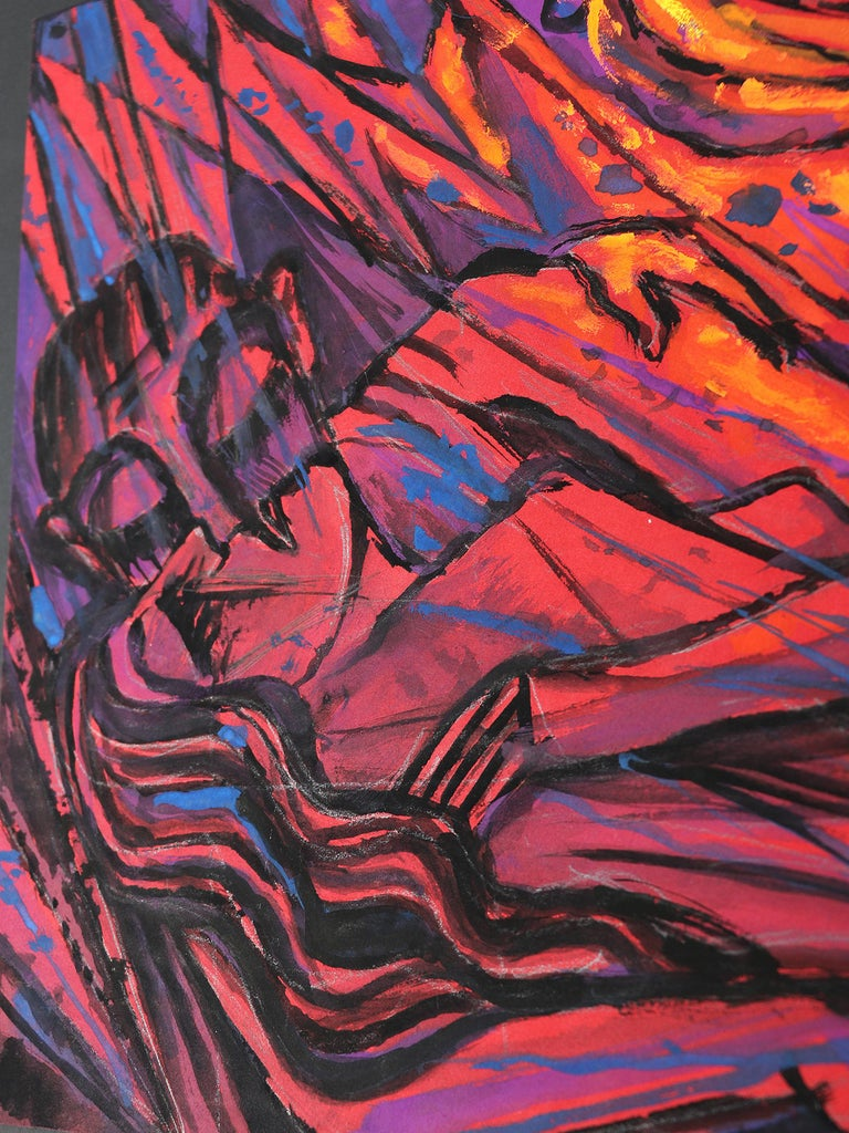 Emil Betzler German expressionist tempera painting on ingrain 'Couple in red, early 1960s Outstanding piece of expressionist art. Not signed, but clearly attributable to Emil Betzler. Similar work shown in 'Emil Betzler' - monograph of his art work