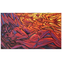 Emil Betzler 'Couple in Red' German Expressionist Painting