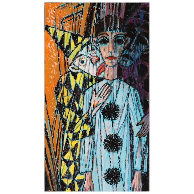 Emil Betzler 'Harlequins 2' German Expressionist Work on Paper For Sale