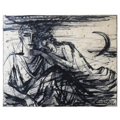 Emil Betzler 'Legend' German Expressionist Ink Painting