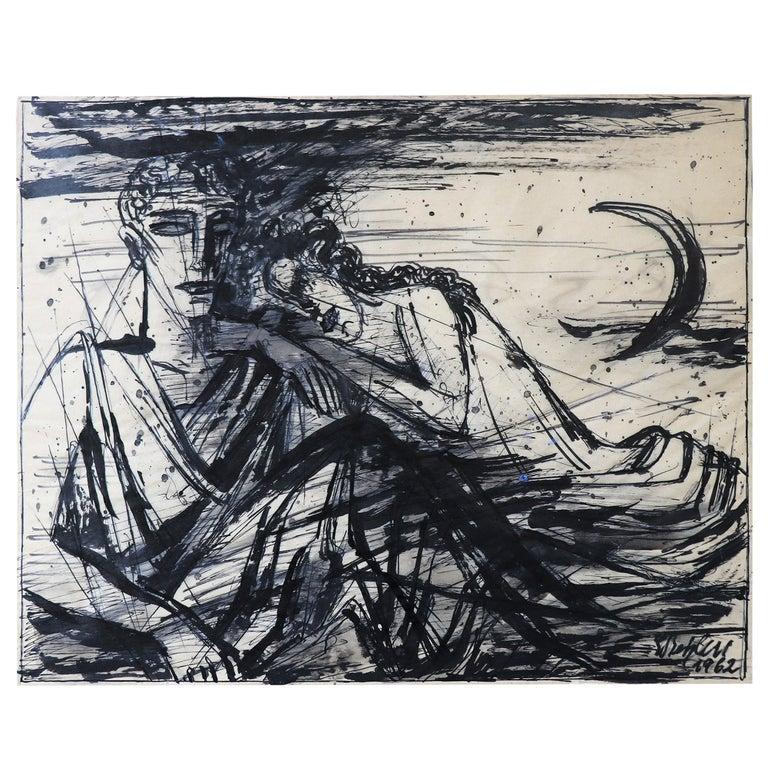 Emil Betzler 'Legend' German Expressionist Ink Painting For Sale