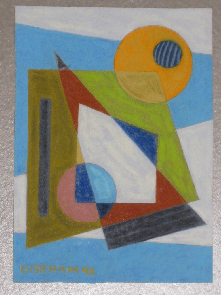 Abstract Geometric WPA Painting Transcendental Art Modern Non Objective 1940s - Blue Abstract Drawing by Emil Bisttram