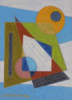 Abstract Geometric WPA Painting Transcendental Art Modern Non Objective 1940s