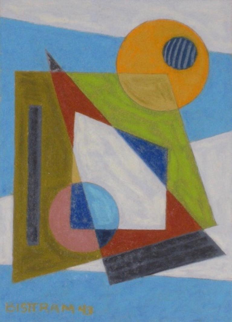 Emil Bisttram Abstract Drawing - Abstract Geometric WPA Painting Transcendental Art Modern Non Objective 1940s