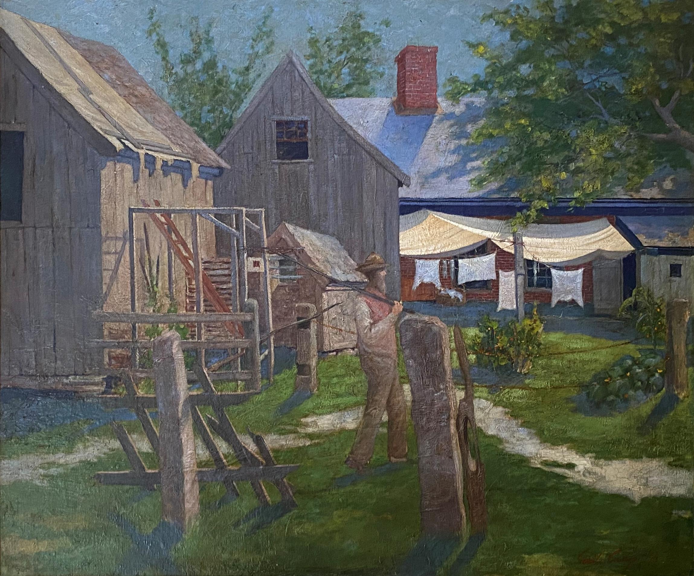 """A Man in His Garden,"" Emil Carlsen, Backyard and Barn Impressionist Landscape"