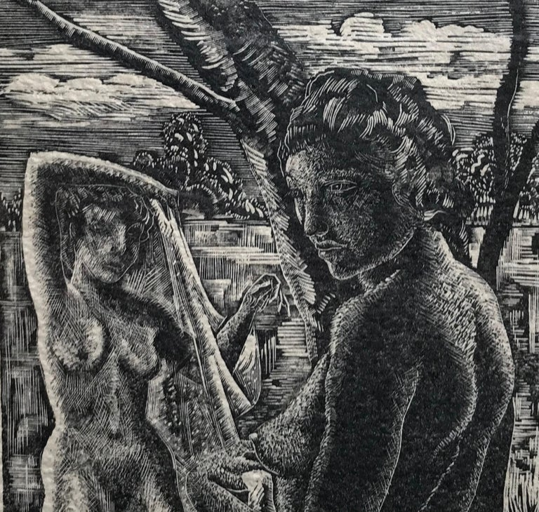 """Original woodcut engraving on cream wove paper. Circa 1932. Printed 1951, from the edition of 200 (Smith 8-B). Signed by the artist's wife """"Ganso F.G."""" In pencil lower right.  Bathers is a masterpiece of Emil Ganso's woodcut technique. Employing the"""