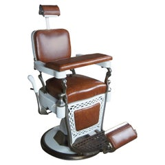 Emil J Paider Antique Cast Iron Hydraulic Leather Barbers Chair Fully Functional