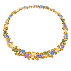 Emil Meister Sublime Sapphire and Diamond Set Gold Necklace