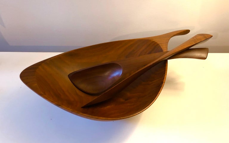 American Emil Milan Abstract Salad Bowl and Tongs For Sale
