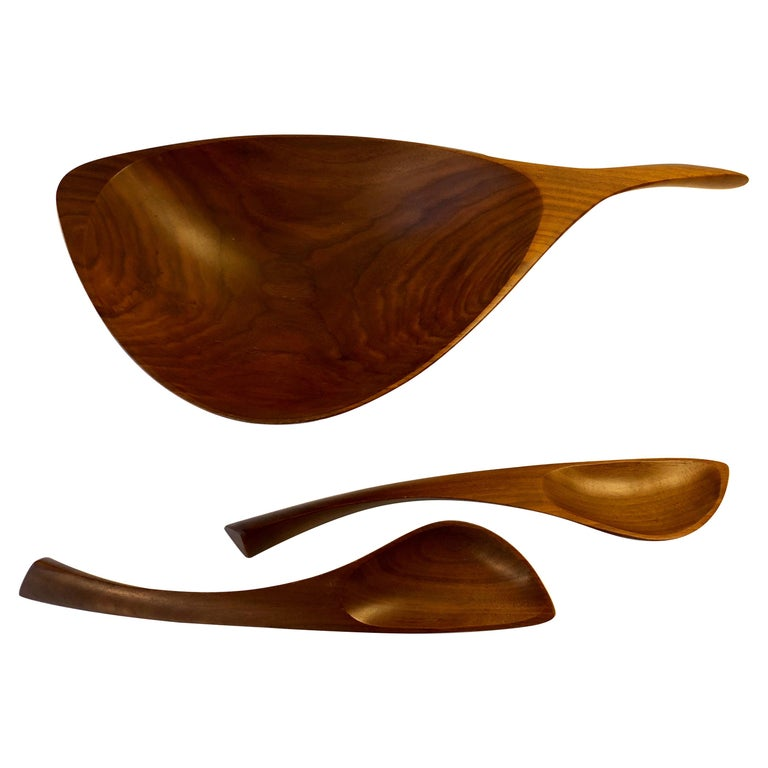 Emil Milan Abstract Salad Bowl and Tongs For Sale