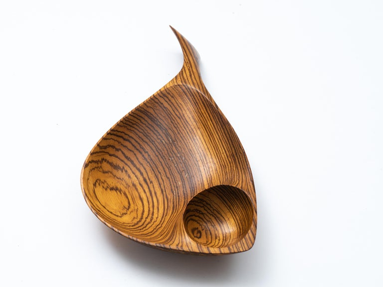 Organic Modern Emil Milan Hand Carved Double Compartment Handled Vessel in Rare Zebrawood For Sale