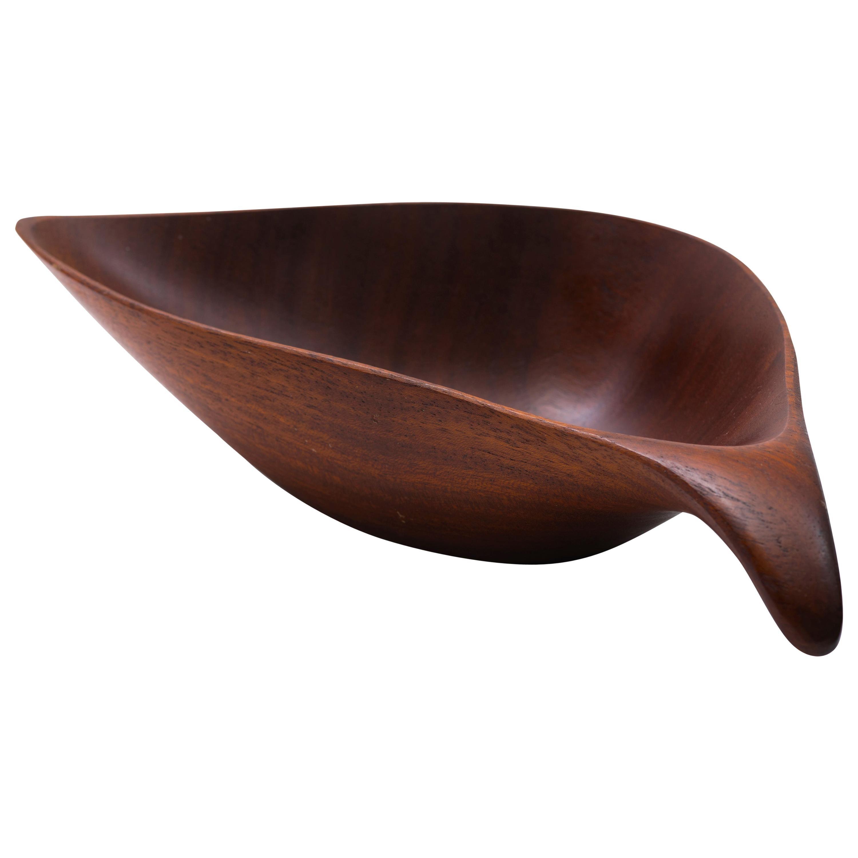 Emil Milan Sculptural Hand-Carved Bowl in Bissilon, 1960s