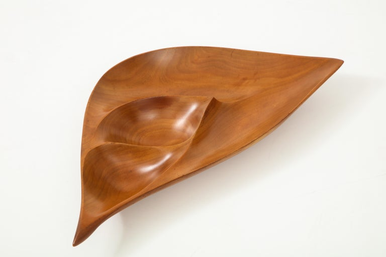 Carved Emil Milan Segmented Dish in Cherry For Sale