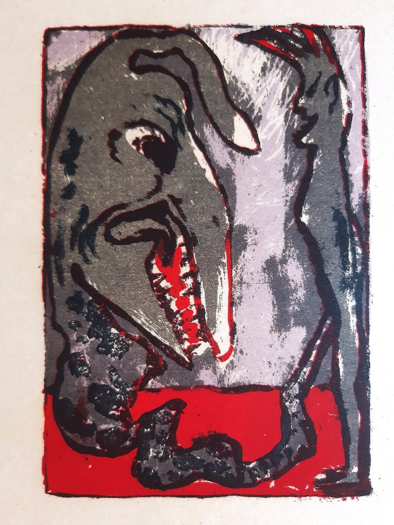 Monster is an original color lithograph realized by  Emil Nolde in 1926, artist's proof before the first edition, out of an edition of 520 copies,   Image dimensions: 16.2x11.2  In very good conditions.  Here the artwork is representing an exotic