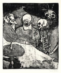 Patient, Doctor, Death and Devil - Etching and Aquatint by E. Nolde, 1911